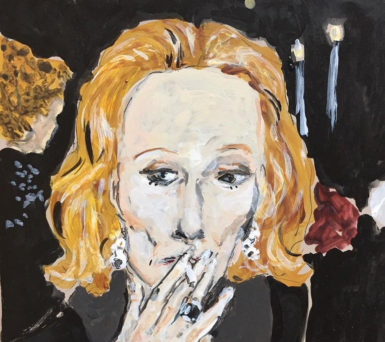 Nan Kempner smoking - Contemporary Painting by Manuel Santelices