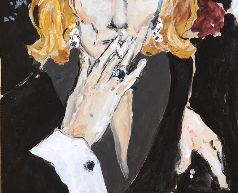 Nan Kempner smoking - Black Portrait Painting by Manuel Santelices
