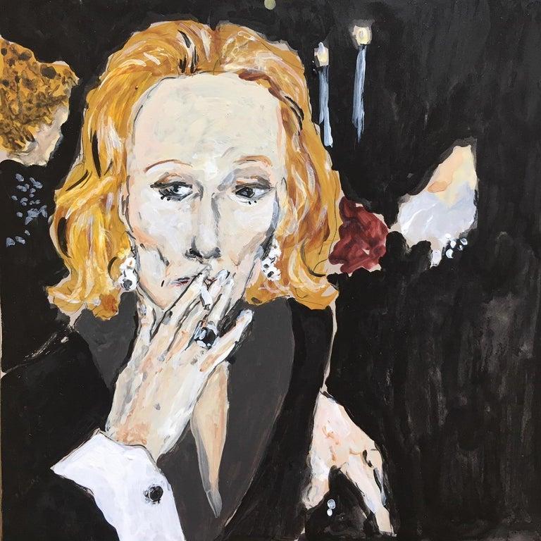 Manuel Santelices Portrait Painting - Nan Kempner smoking
