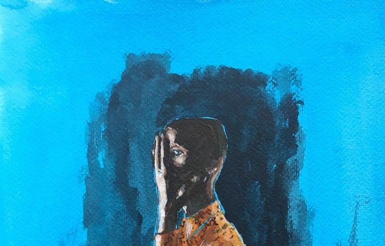 Orange shirt - Blue Figurative Painting by Manuel Santelices
