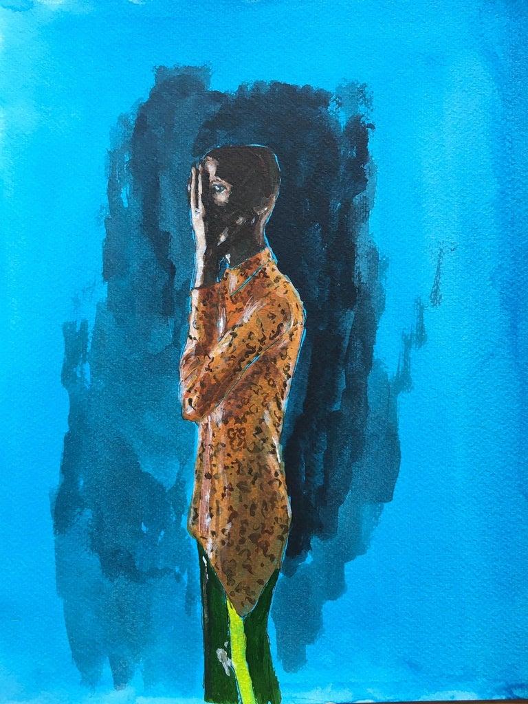 Manuel Santelices Figurative Painting - Orange shirt