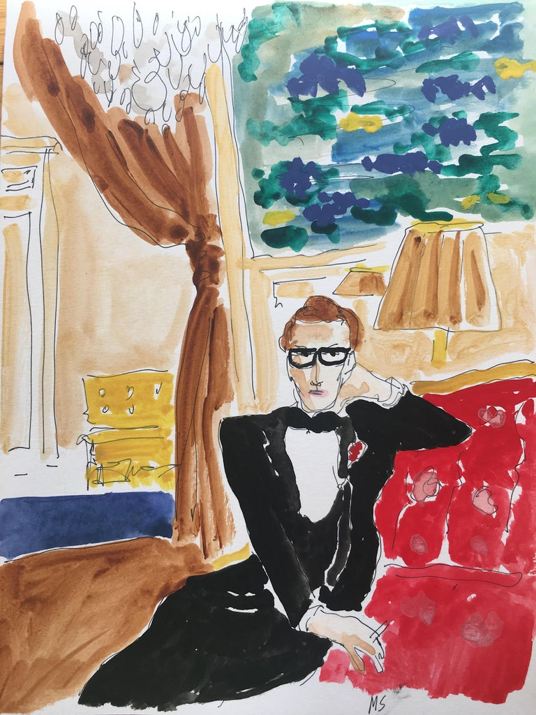 Manuel Santelices Interior Art - Saint Laurent at home (After Horst) (2020)