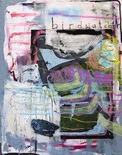 Birdwatcher - expressive painting, abstract art, Contemporary, Sprayart, birds