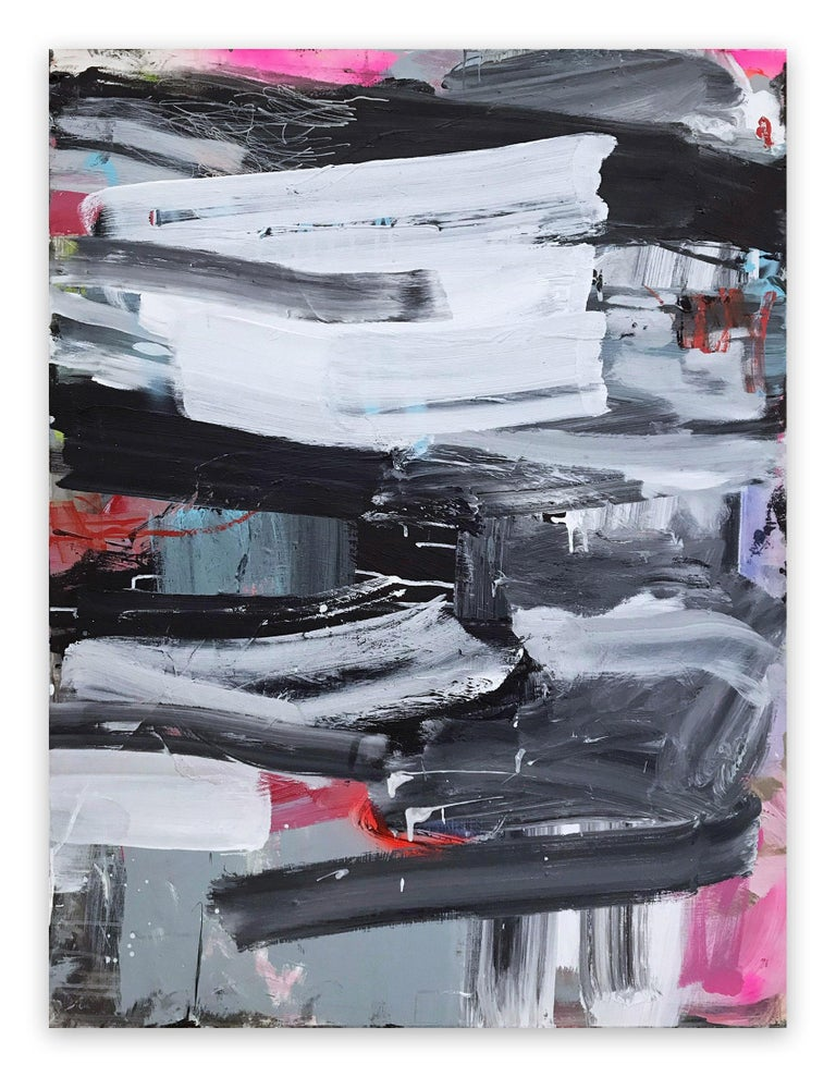 Covers 1&2 (Abstract painting) - Gray Abstract Painting by Manuela Karin Knaut