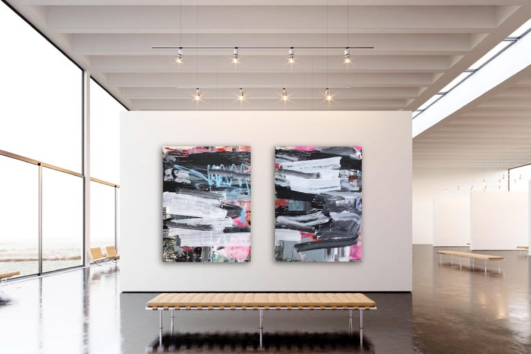 Acrylic, ink, oil and spraypaint on canvas - Unframed.  Sold as a diptych. Dimensions: 121 x 182 cm - Each element's dimensions: 121 x 81 cm/47.6 x 32 inches.  This artwork is exclusive to IdeelArt.  Knaut builds her compositions slowly over time,