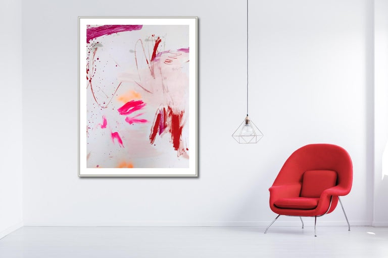 Rosy cheeks and bubbly 2 (Abstract work on paper) - Gray Abstract Painting by Manuela Karin Knaut
