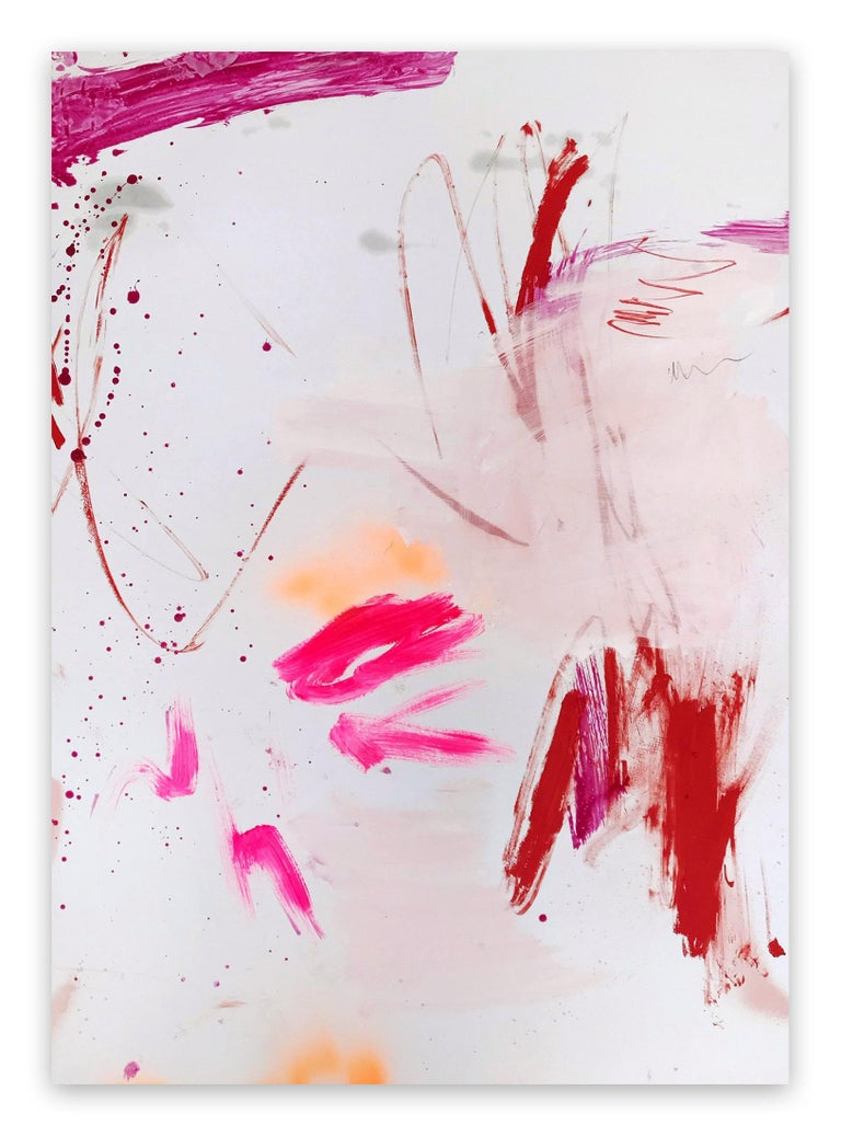 Manuela Karin Knaut Abstract Painting - Rosy cheeks and bubbly 2 (Abstract work on paper)