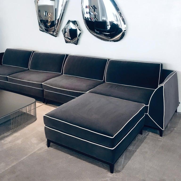 Modern In stock in Los Angeles, Manzoni Grey Velvet Sofa by Luca Scacchetti For Sale