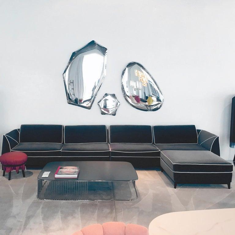 Italian In stock in Los Angeles, Manzoni Grey Velvet Sofa by Luca Scacchetti For Sale