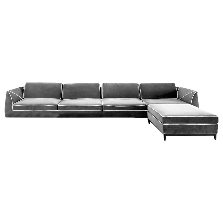 In stock in Los Angeles, Manzoni Grey Velvet Sofa by Luca Scacchetti For Sale