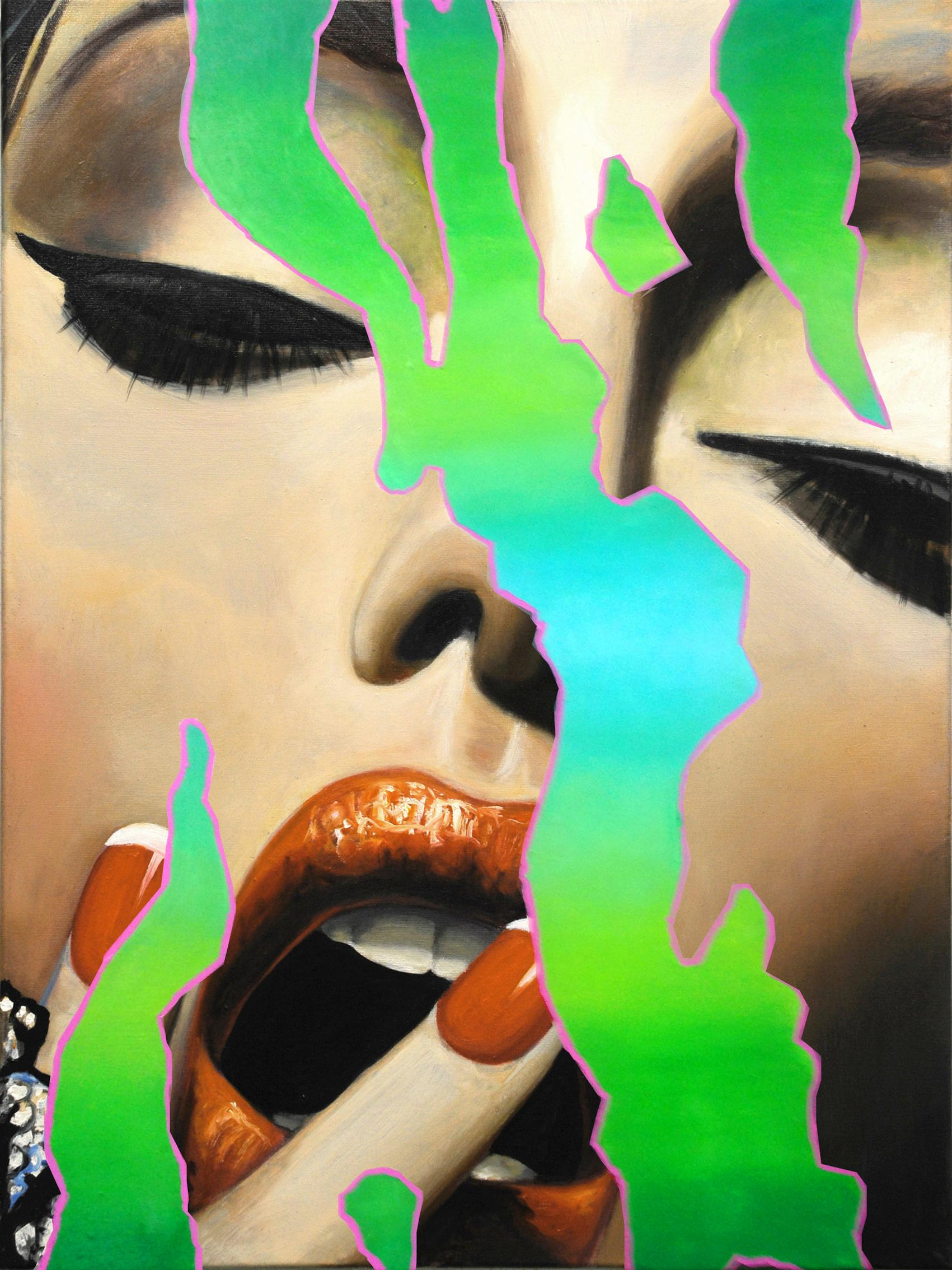 Glossy 1 - Contemporary, Pop Art, figurative, modern, female Portrait, oilpaint