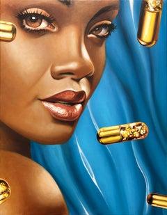 Golden Pills 1 - Contemporary, Pop Art, Figurative Art, modern, female Portrait