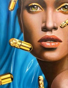 Golden Pills 2 - Contemporary, Pop Art, Figurative Art, modern, female Portrait