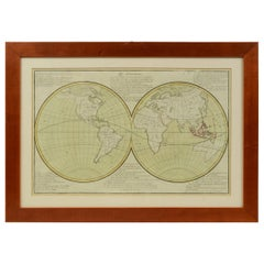 Map Depicting the Entire Earth's Surface Divided into Two Parts, France, 1850