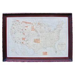 Map of American Indian Reservations 1884 in Period Walnut Frame