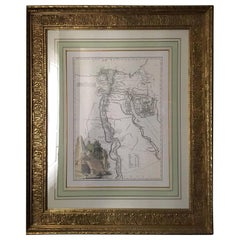Map of Egypt in a Beautiful Orientalist Gold Leaf Frame