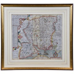 "Map of Hampshire County, Britain/England, from Camden's"" Britannia"" in 1607"