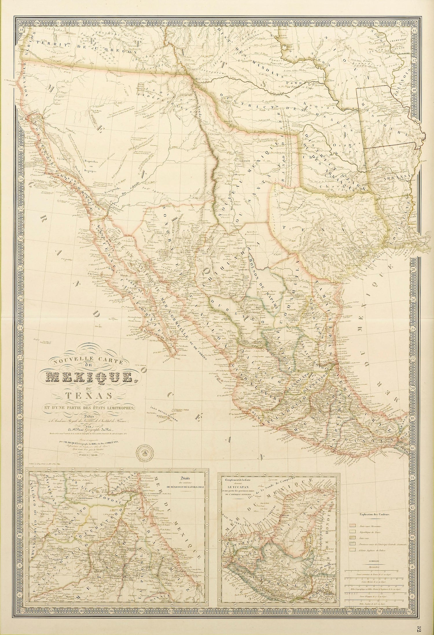 Map Of Texas 99.Map Of Texas And Mexico In French Depicting Texas As A Republic Circa 1840