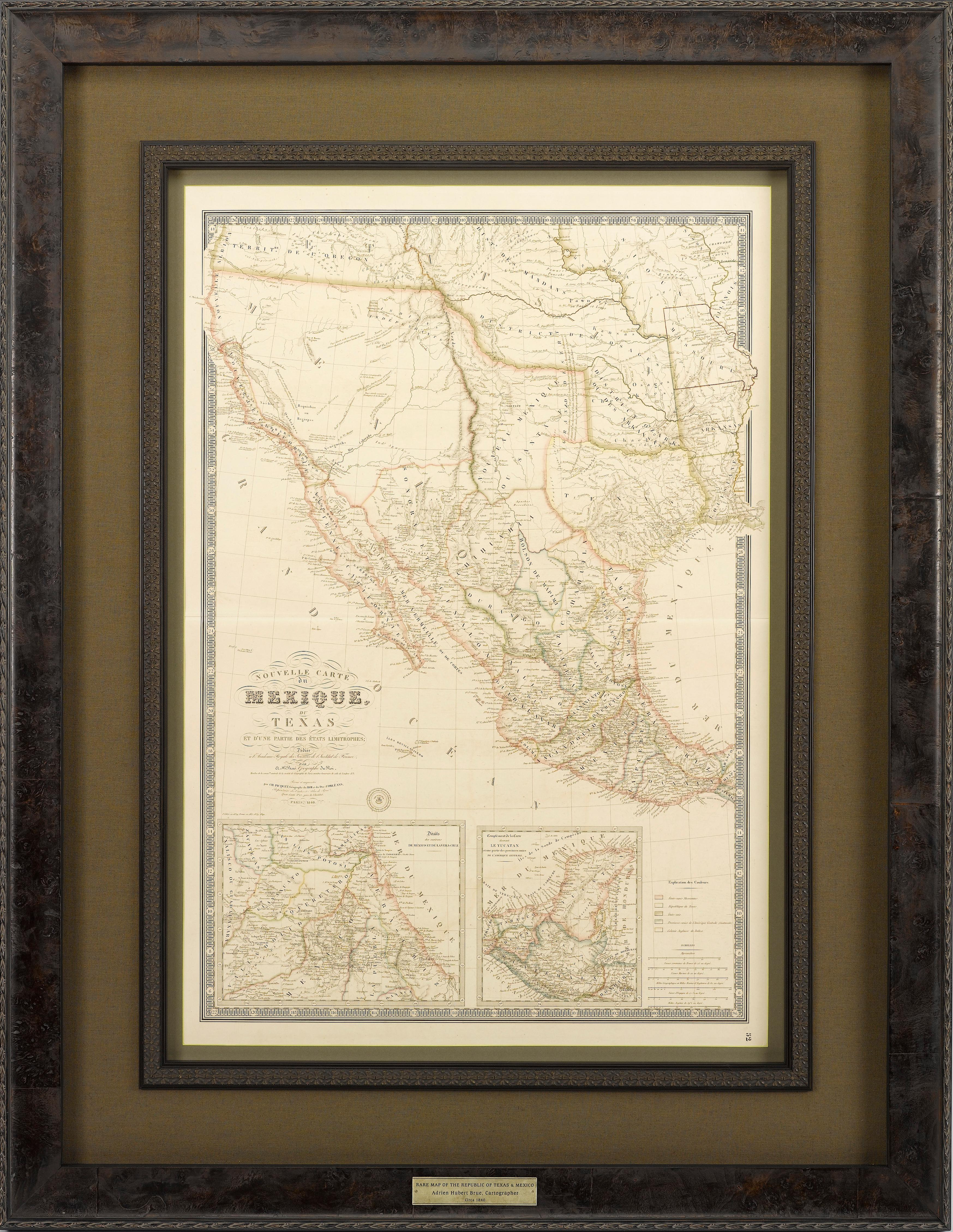 Map Of Texas 1840.Map Of Texas And Mexico In French Depicting Texas As A Republic Circa 1840