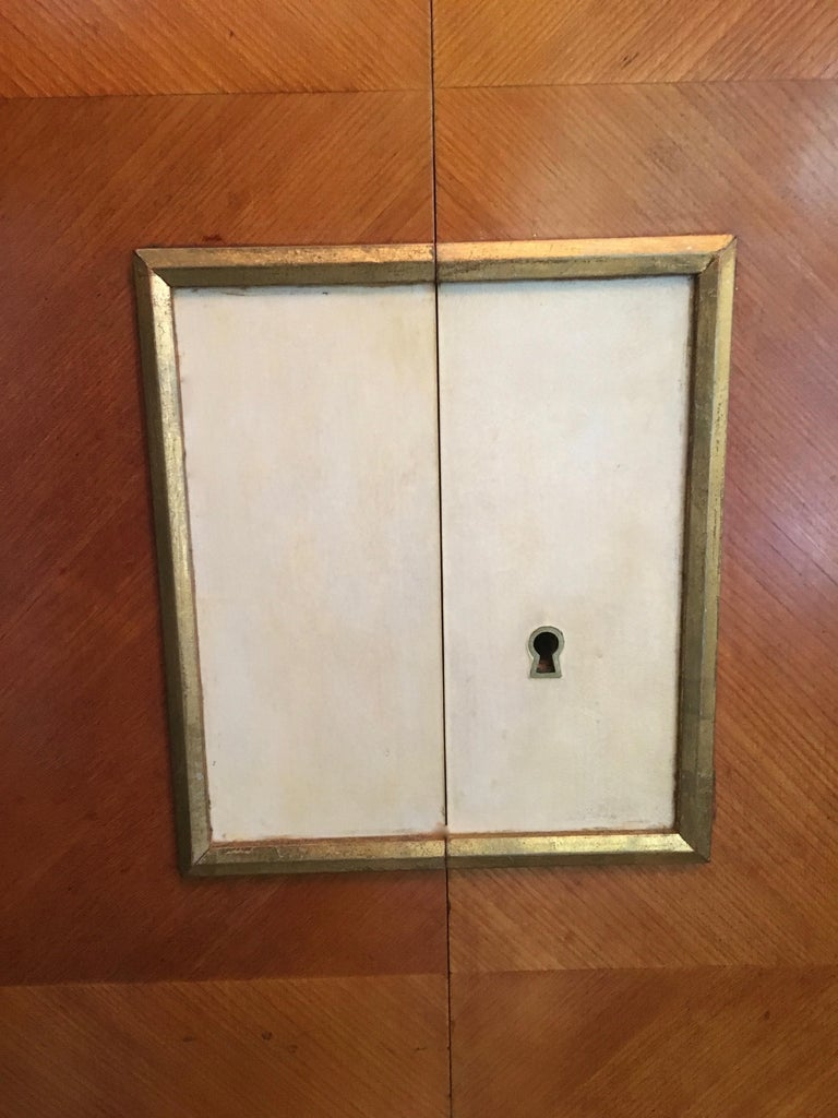 Brass Maple 4-Door French Cabinet in the Manner of Andre Arbus For Sale