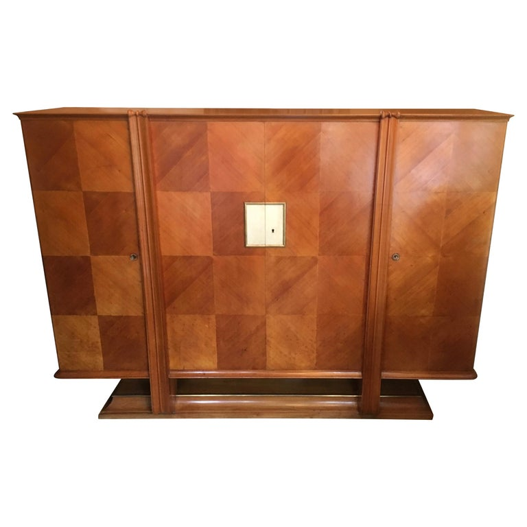 Maple 4-Door French Cabinet in the Manner of Andre Arbus For Sale