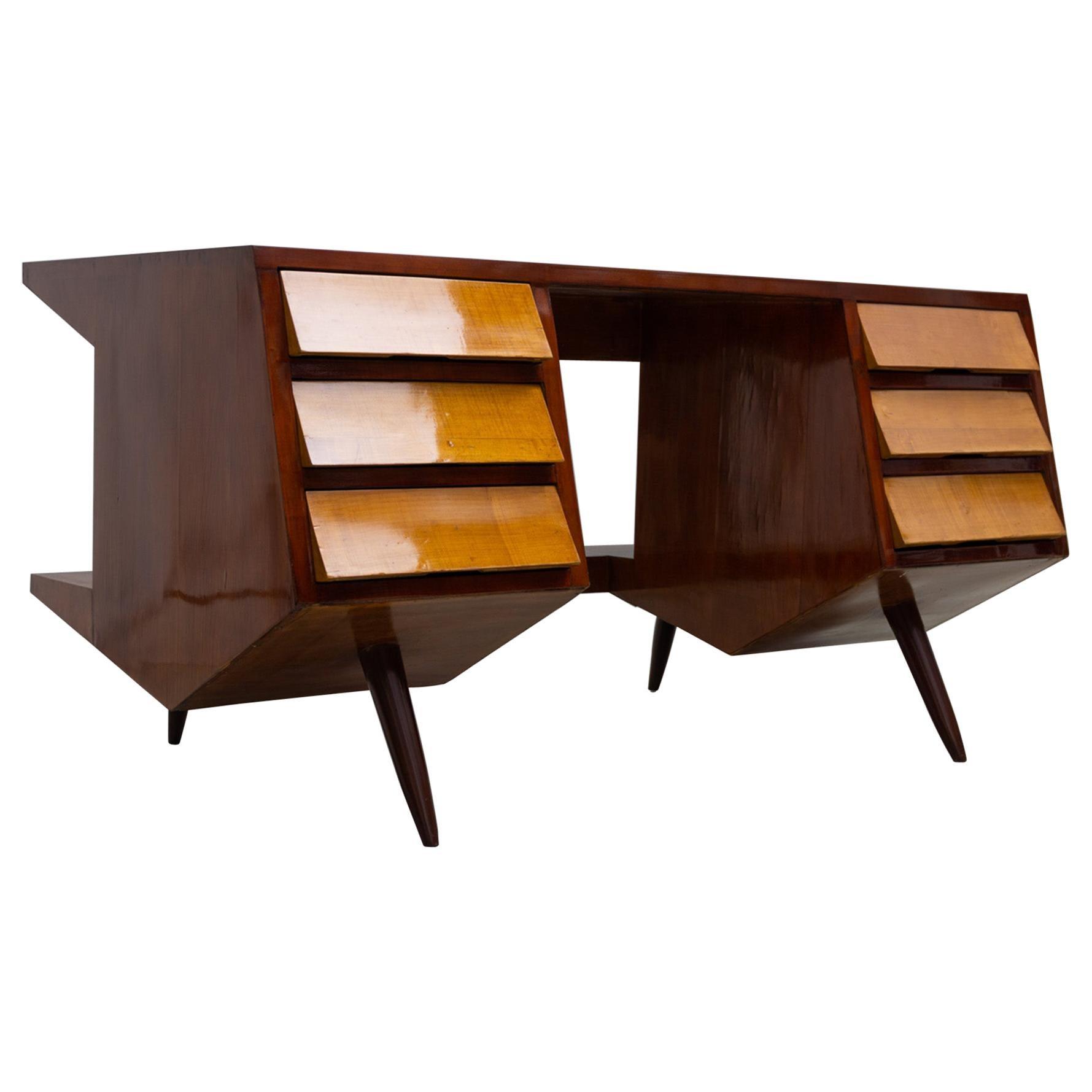 Maple and Walnut Desk with Drawers by Luigi Claudio Olivieri, 1950