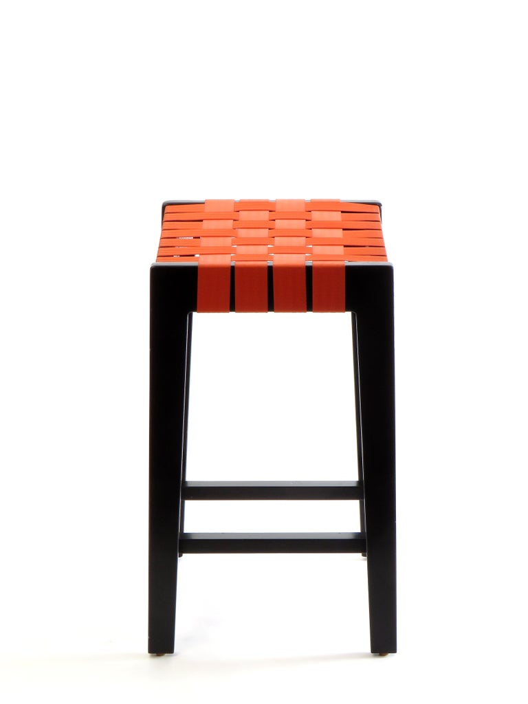 Groovy Maple Black Finish Bar Stool With Orange Woven Seat Made In Usa By Peter Danko Bralicious Painted Fabric Chair Ideas Braliciousco