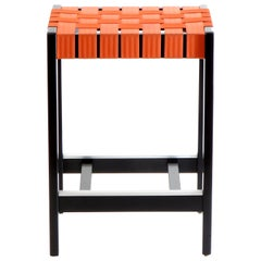 Maple Black Finish Bar Stool with Orange Woven Seat Made in USA by Peter Danko