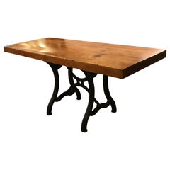 Maple Butcher Block Table Island with and Antique Iron Base