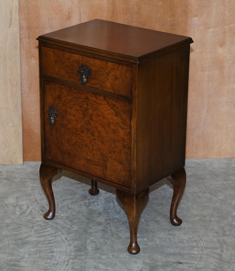 Art Deco Maple & Co Burr Walnut Bedside or Side End Lamp Wine Table Part of a Large Suite For Sale