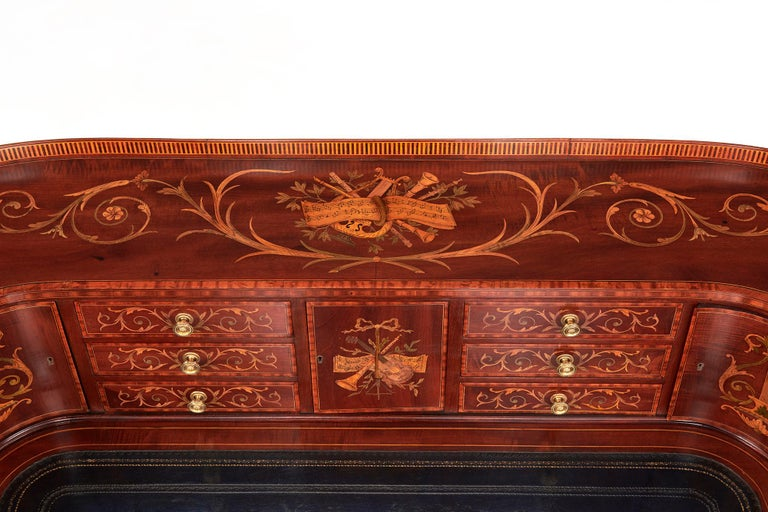 Maple & Co Mahogany, Satinwood and Marquetry Inlaid Victorian Carlton House Desk For Sale 9