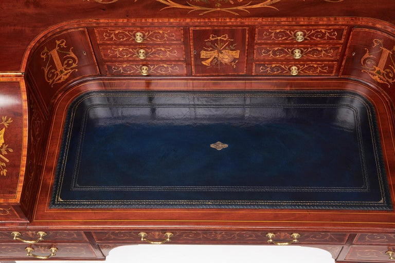 Maple & Co Mahogany, Satinwood and Marquetry Inlaid Victorian Carlton House Desk For Sale 10