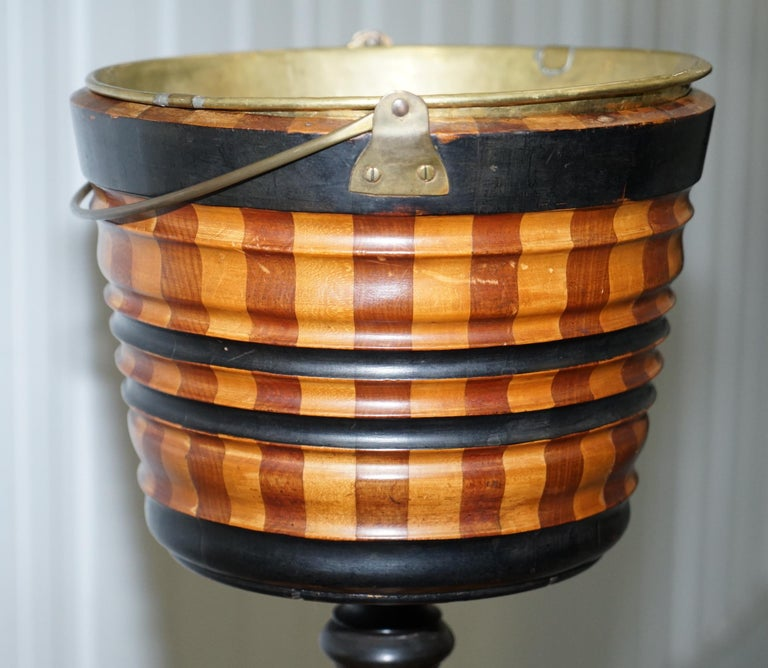 Maple & Ebony Biedermeier Peat Bucket for Coal Brass Lined Great Bin Planter For Sale 4