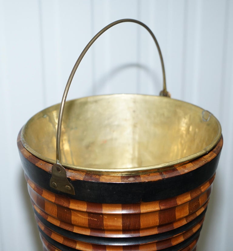 Maple & Ebony Biedermeier Peat Bucket for Coal Brass Lined Great Bin Planter For Sale 6