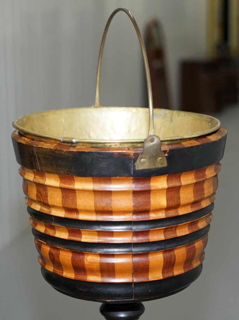 Maple & Ebony Biedermeier Peat Bucket for Coal Brass Lined Great Bin Planter For Sale 7