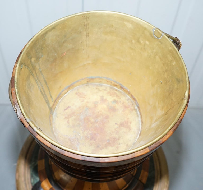 19th Century Maple & Ebony Biedermeier Peat Bucket for Coal Brass Lined Great Bin Planter For Sale
