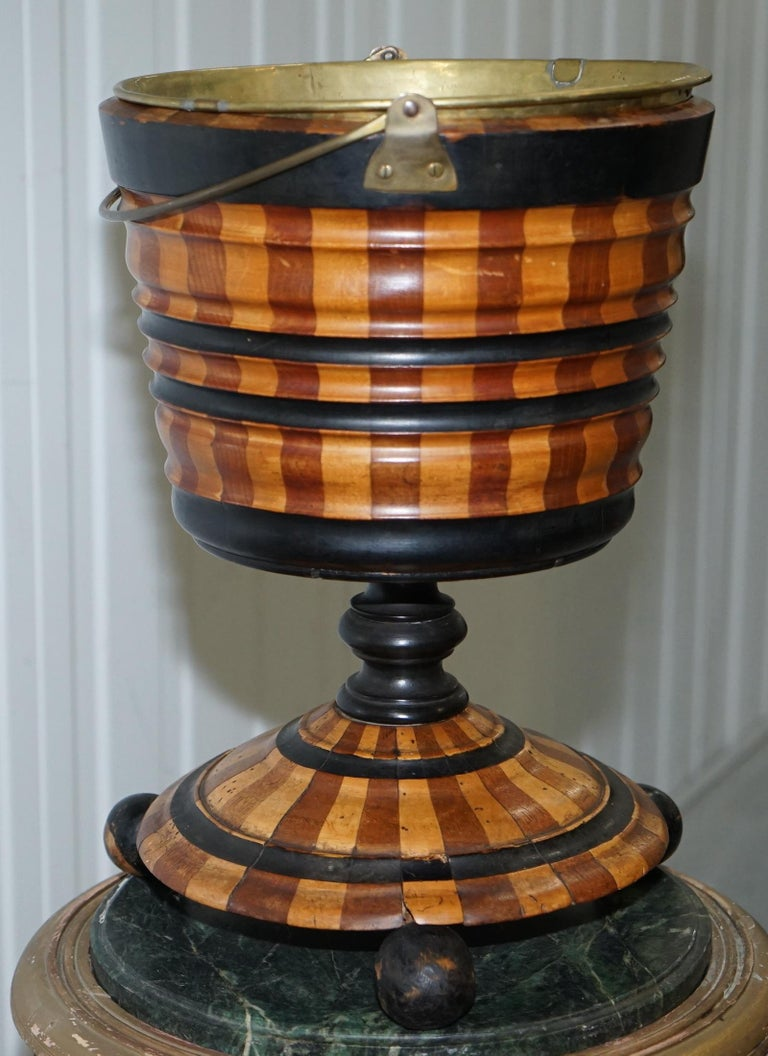 Maple & Ebony Biedermeier Peat Bucket for Coal Brass Lined Great Bin Planter For Sale 3