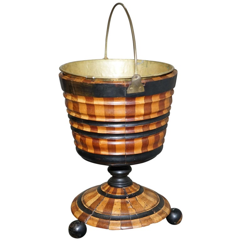 Maple & Ebony Biedermeier Peat Bucket for Coal Brass Lined Great Bin Planter For Sale