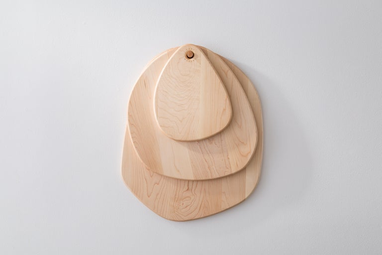 Contemporary Maple Large Hexagon Pebble Cutting Board, in Stock For Sale