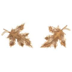 Maple Leaf Earrings Vintage 14 Karat Gold Screw Backings Estate Fine Jewelry