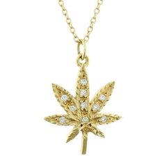 Maple Marijuana Leaf Diamond Gold Pendant