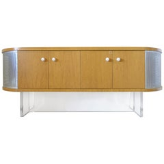 Maple Media Cabinet/Credenza with Lucite Base and Glass Handles, Custom Made