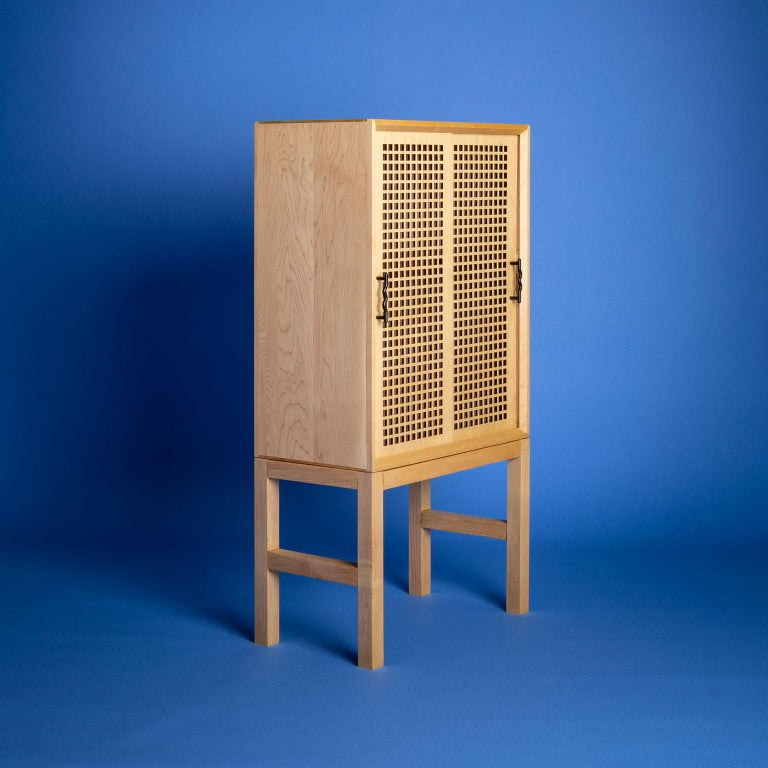 Post-Modern Maple Memphis-Inspired Path of Totality Bar Cabinet For Sale