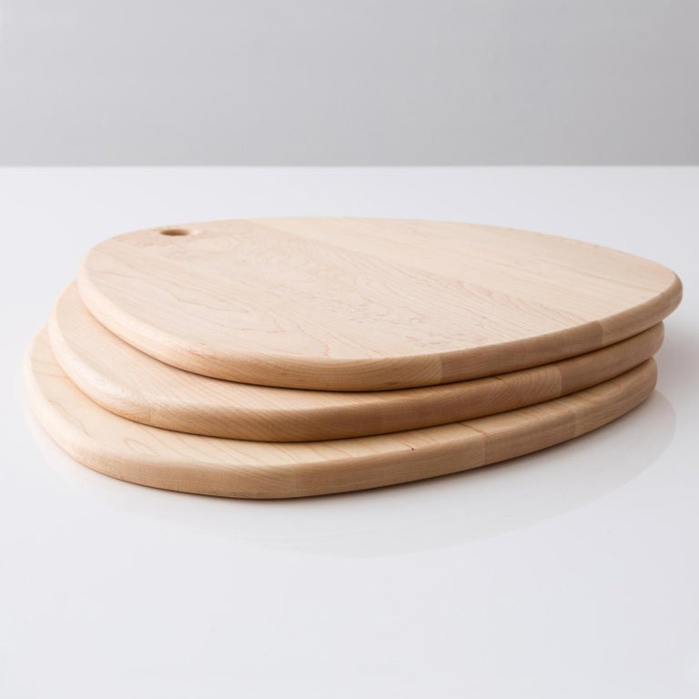 Hand-Crafted Maple Oval Pebble Cutting Board, in Stock For Sale