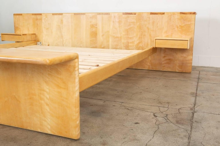 20th Century Maple Platform California King Bed with Floating Nightstands by Gerald McCabe For Sale