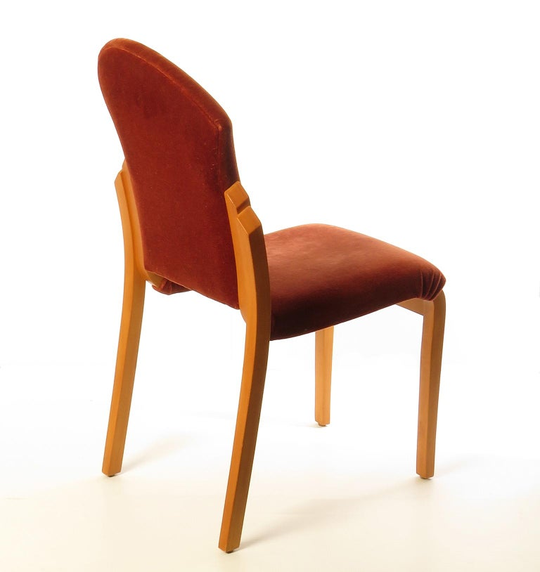 Modern Maple Plywood Side Chair with Red Velvet Upholstery, Prototype by Peter Danko For Sale
