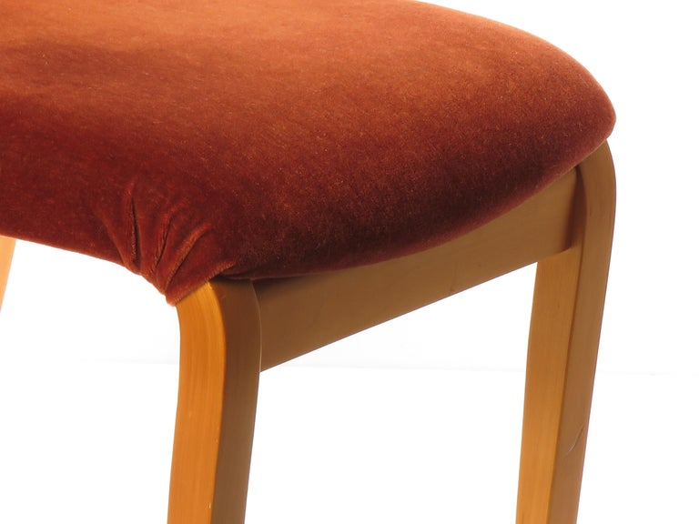 Contemporary Maple Plywood Side Chair with Red Velvet Upholstery, Prototype by Peter Danko For Sale