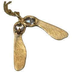 Maple Seed Samara Antique Diamond and 18 Karat Gold Necklace