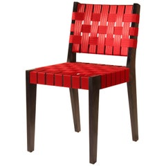 Maple Side Chair in Black Finish with Red Woven Seat and Back by Peter Danko