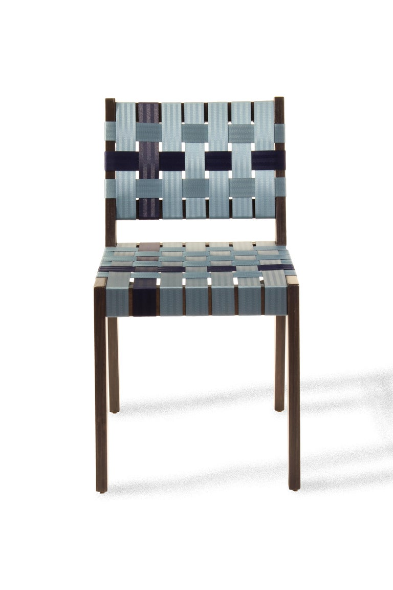 Maple Side Chair In Wenge with Champagne Woven Seat & Back by Peter Danko For Sale 4